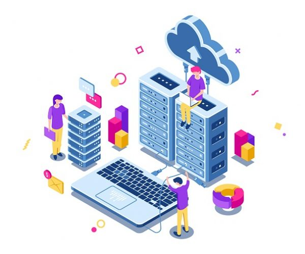 Big data center, server room rack, engineering process, teamwork, computer technology, cloud storage, command work, isometric people vector illustration
